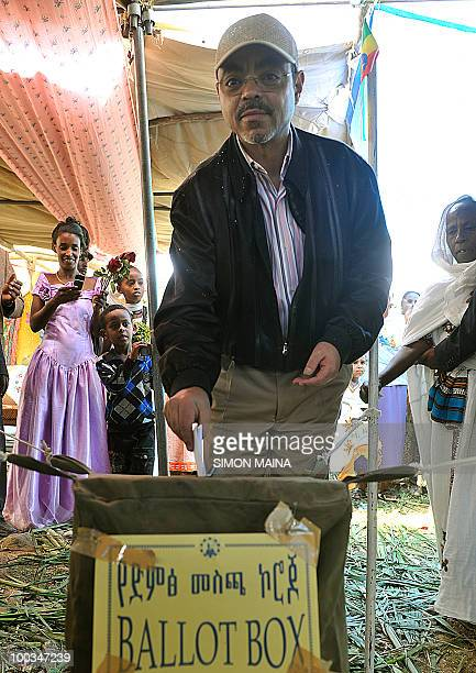 Ethiopian Prime Minister Meles Zenawi casts his vote on May 23 2010 at a polling station in Adwa 900 kms north of the capital Addis Ababa Ethiopians...