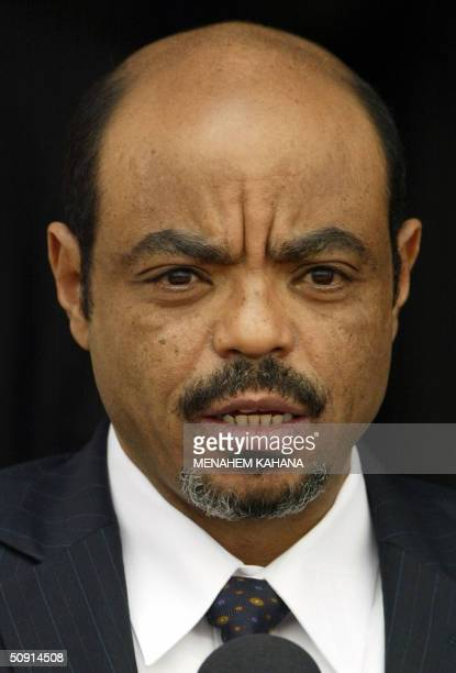 Ethiopian Prime Minister Meles Zenawi is seen during a welcoming ceremony in Jerusalem 01 June 2004 Zenawi began a threeday official visit to Israel...