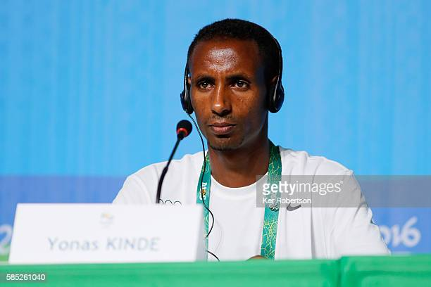 Ethiopian runner Yonas Kinde of the Refugee Olympic Team attends a press conference on August 2, 2016 in Rio de Janeiro, Brazil.