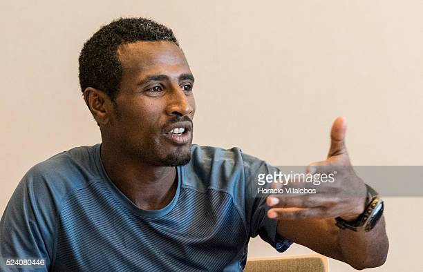 Ethiopian Sisay Lemma Kasaye winner of the 34th Frankfurt Marathon at the winners' press conference in Frankfurt Germany 26 October 2015 a day after...