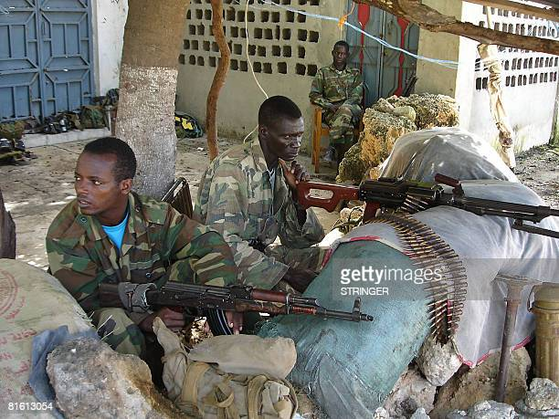 Ethiopian soldiers man a position on June 17, 2008 in Somalia's embattled capital following a fresh outbreak of violence. Three days of fighting...