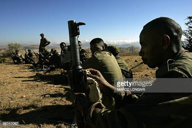 Ethiopian soldiers on duty at one of the observation posts that face the Temporary Security Zone and the Eritrean border in the northern town of Zala...