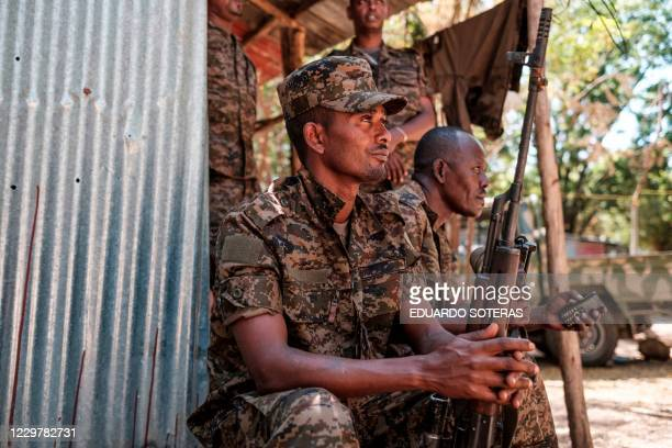 Ethiopian soldiers rest at the 5th Battalion of the Northern Command of the Ethiopian Army in Dansha, Ethiopia, on November 25, 2020.