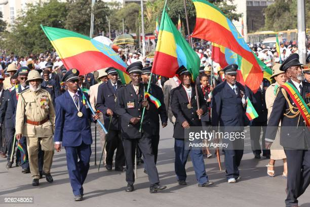 Ethiopian veterans wearing military uniform and medals march during the celebration of the 122nd Anniversary of Ethiopia's Battle of Adwa at King II...