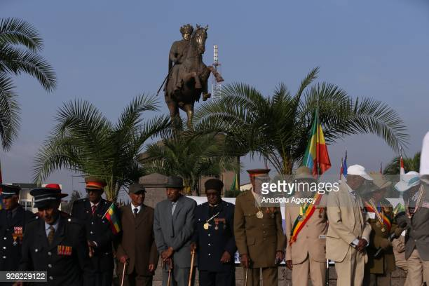 Ethiopian veterans wearing military uniform and medals stand next to each other during the celebration of the 122nd Anniversary of Ethiopia's Battle...