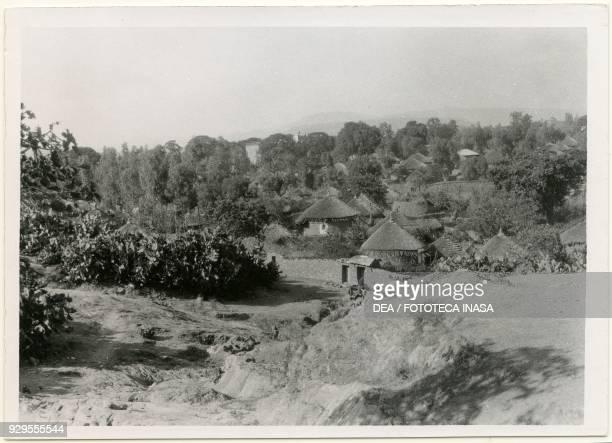 Ethiopian village with circular thatched homes Axum Ethiopia photograph by Ugo Monneret de Villard 1937