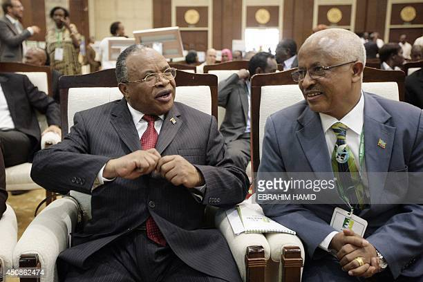 Ethiopian Water Minister Alemayehu Tegenu and his Tanzanian counterpart Jumanne Maghembe attend a 10nation Nile River forum on June 19 2014 in the...
