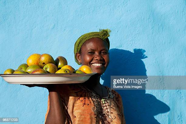 Ethiopian woman selling fruits