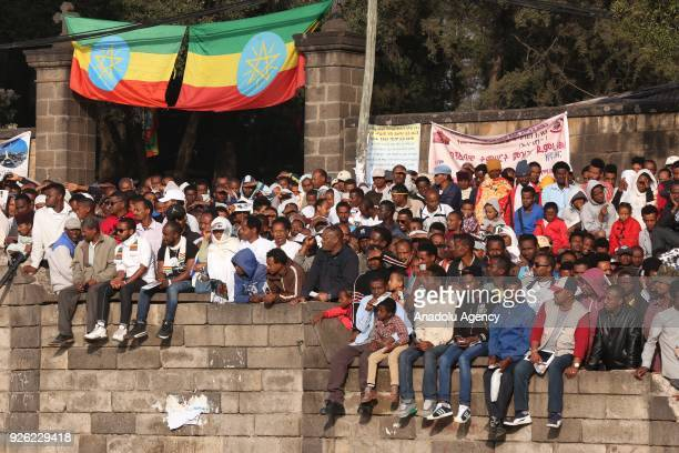 Ethiopians are seen during the celebration of the 122nd Anniversary of Ethiopia's Battle of Adwa at King II Menelik Square in Addis Ababa on March 02...