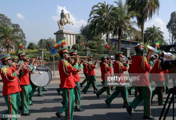 Ethiopians attend a parade to mark the 123rd anniversary of the battle of Adwa in which Ethiopia inflicted a crushing defeat on Italy's colonial...