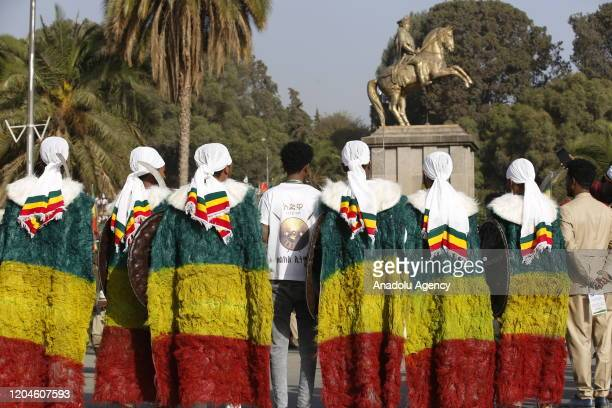 Ethiopians attend a parade to mark the 124th anniversary of Battle of Adwa at King II Menelik Square in Addis Ababa Ethiopia on March 02 2020 Battle...