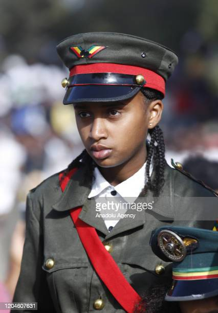 Ethiopians attend a parade to mark the 124th anniversary of Battle of Adwa at King II Menelik Square in Addis Ababa, Ethiopia on March 02, 2020....