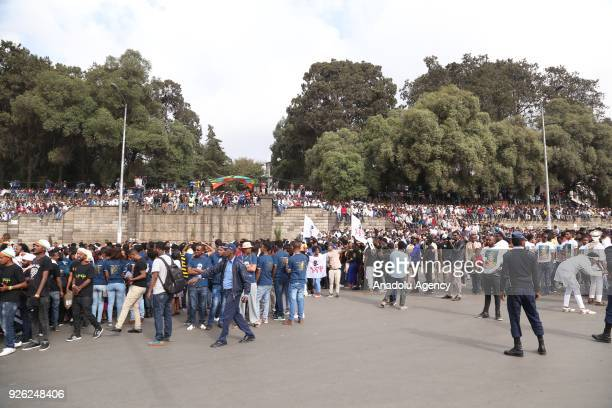 Ethiopians attend an event to mark the 122nd Anniversary of Ethiopia's Battle of Adwa at King II Menelik Square in Addis Ababa on March 02 2018...