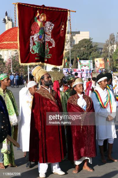 Ethiopians attend an event to mark the 123rd anniversary of the battle of Adwa in which Ethiopia inflicted a crushing defeat on Italy's colonial army...