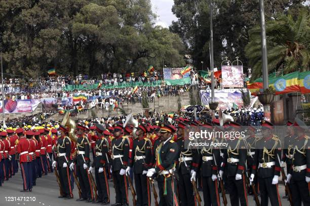 Ethiopians celebrate the 125th anniversary of Ethiopia's victory over Italy at the Battle of Adwa on March 1 at Menelik II Square in the capital...