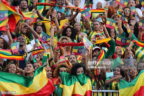 Ethiopians cheer up to support their athletes in the Standard Chartered Dubai Marathon 2017 in Dubai United Arab Emirates on January 20 2017