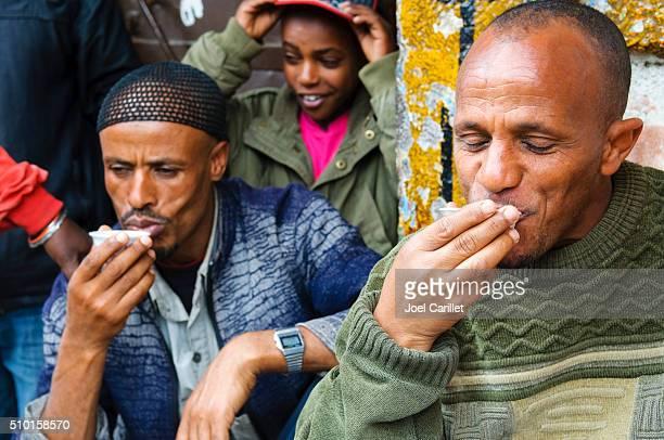 Ethiopians drinking coffee in Addis Ababa, Ethiopia