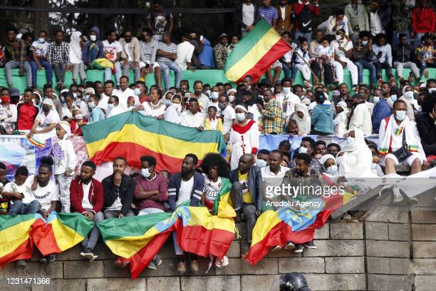 Ethiopians gather at Menelik II Square in the capital Addis Ababa on March 02, 2021 to celebrate the 125th anniversary of Ethiopia's victory over...
