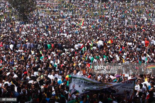 Ethiopians gather on Meskel Square in Addis Ababa on June 23 2018 for a rally called by Prime Minister Abiy Ahmed A small blast sparked panic at a...