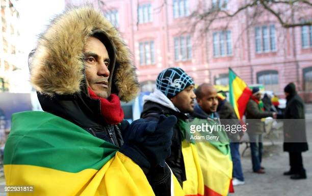 Ethiopians living in Germany demonstrate against the Ethiopian government on February 22 2018 in Berlin Germany The protesters demonstrated in...