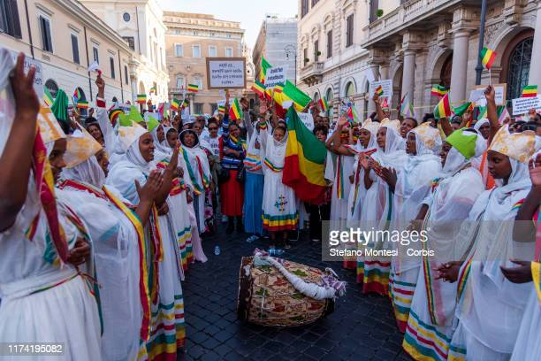 Ethiopians of the Orthodox Christian Church of Tewahedo in Italy demand an end to the persecution of Christians in Ethiopia during a protest on...