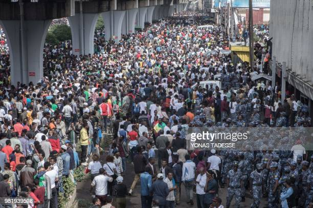Ethiopians police forces intervene during a rally called by Ethiopia Prime Minister after a blast injured several people on Meskel Square in Addis...