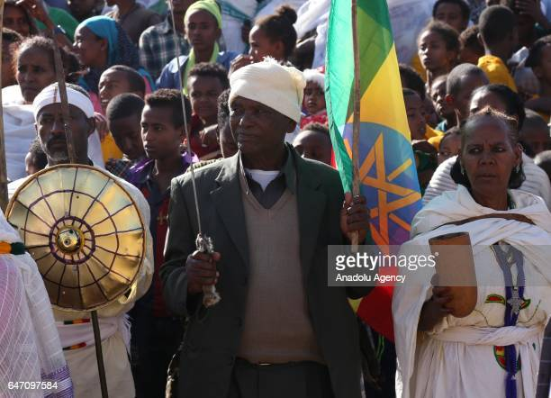Ethiopians take part in the celebration of the 121st Anniversary of Ethiopia's Battle of Adwa in Tigray on March 2 2017 Battle Adwa is the Ethiopia's...