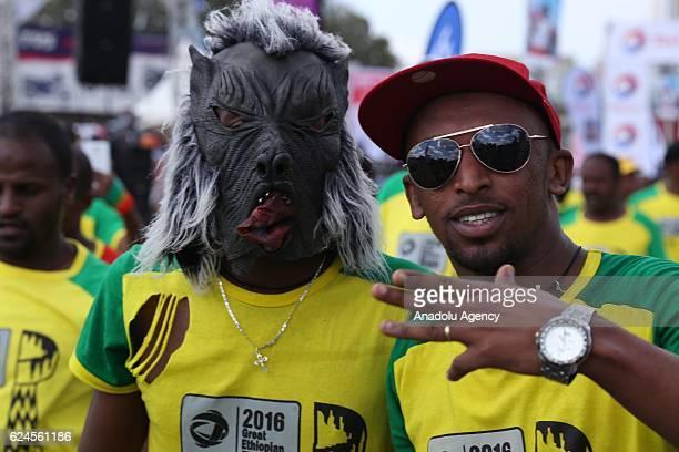 Ethiopians take part in thhe 16th Ethiopian Marathon in Addis Ababa Ethiopia on November 20 2016