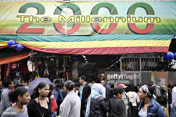 MAASHO Ethiopians visit a Millenium exhibition 06 September 2007 in Addis Ababa ahead of its third Millenium on 12 September Concerts by...