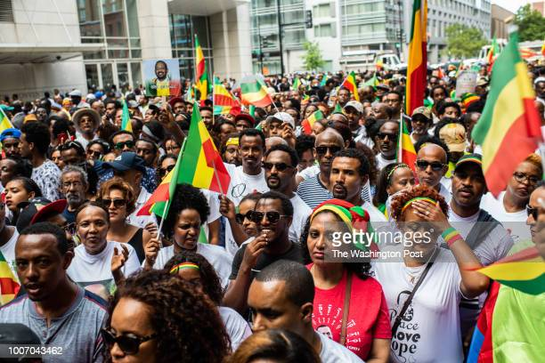 Ethiopians wait to enter Walter E Washington Convention Center for the the newlyelected Ethiopian Prime Minister Dr Abiy Ahmed speech on Saturday...