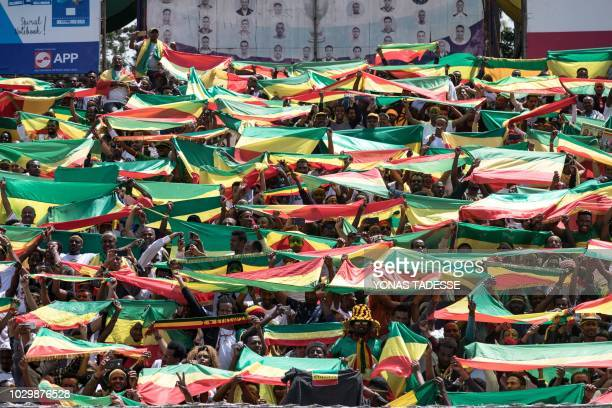 Ethiopians wave national flags and celebrate in the streets of Addis Ababa the return of Berhanu Nega the leader of the former armed movement Ginbot...