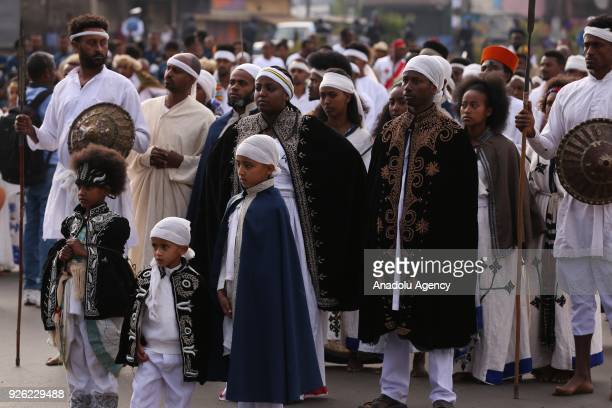 Ethiopians with traditional clothes take part in the celebration of the 122nd Anniversary of Ethiopia's Battle of Adwa at King II Menelik Square in...