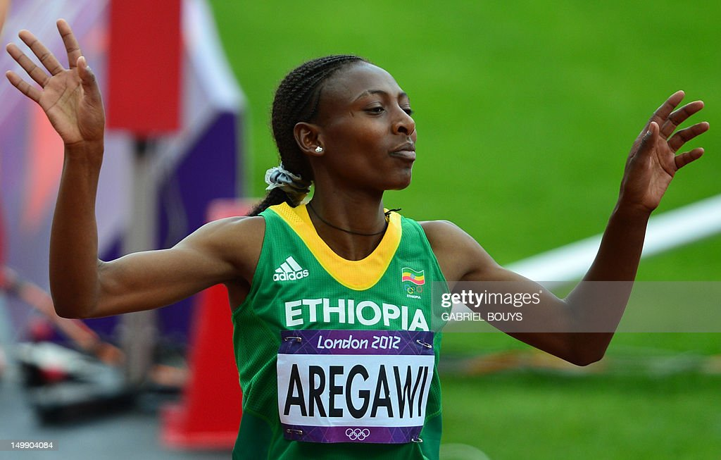Ethiopia's, Abeba Aregawi reacts at the  : News Photo