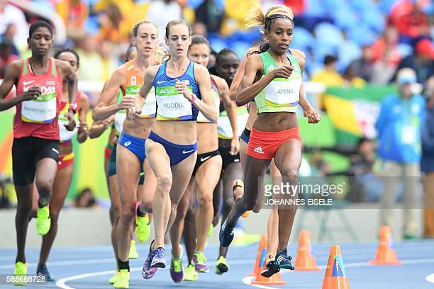 Ethiopia's Almaz Ayana and the USA's Molly Huddle compete in the Women's 10000m during the athletics event at the Rio 2016 Olympic Games at the...