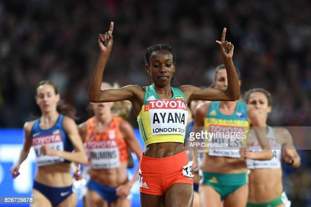 TOPSHOT Ethiopia's Almaz Ayana wins the final of the women's 10000m athletics event at the 2017 IAAF World Championships at the London Stadium in...