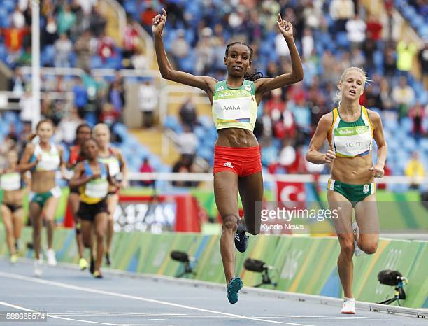 Ethiopia's Almaz Ayana wins the gold in the women's 10000 meters in a worldrecord time of 291745 at the Rio de Janeiro Olympics on Aug 12 2016