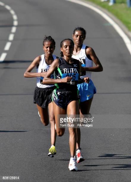 Ethiopia's Deratu Tulu leads the field on the way to winning the women's title in the Great North Run in NewcastleuponTyne Sunday September 18 2005...