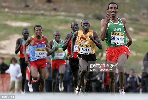 Ethiopia's Gebreegziabher Gebremariam leads the senior men's race during the 37th International Association of Athletics Federations World Cross...