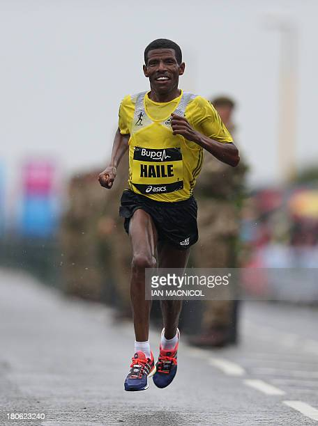 Ethiopia's Haile Gebresalassie crosses the finish line in third place in the Great North Run half marathon in South Shields, near Newcastle in...