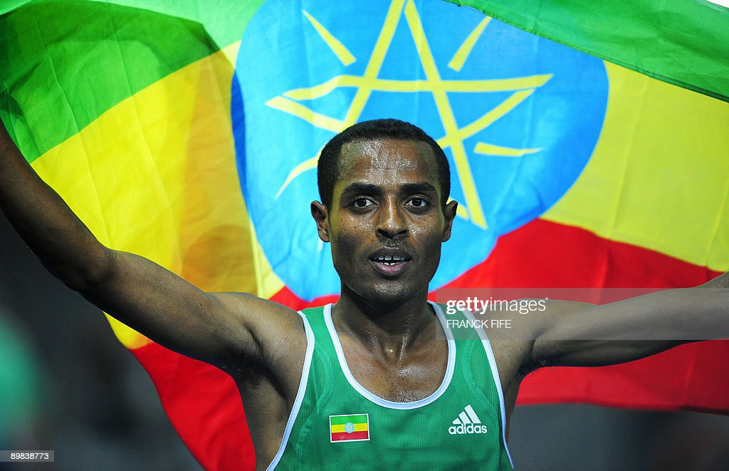 Ethiopia's Kenenisa Bekele celebrates his victory the men's 10,000m final race of the 2009 IAAF Athletics World Championships on August 17, 2009 in Berlin.