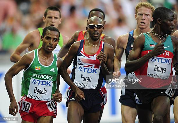 Ethiopia's Kenenisa Bekele Great Britain's Mohammed Farah and Kenya's Joseph Ebuya compete during the men's 5000m round 1 race of the 2009 IAAF...