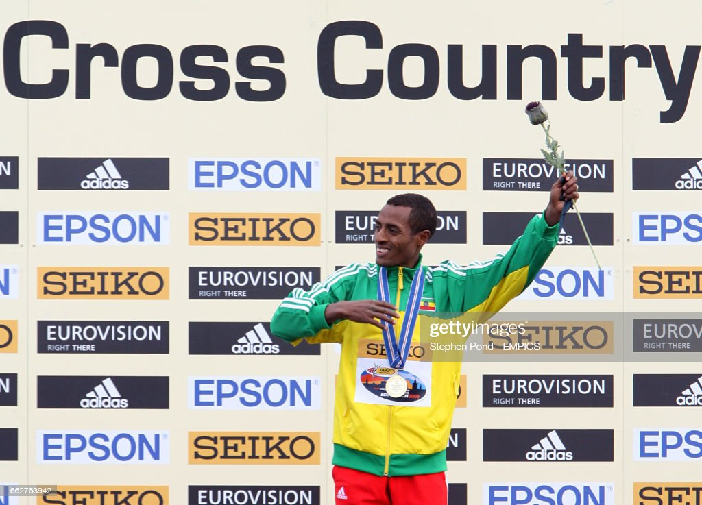 Ethiopia's Kenensia Bekele celebrates winning gold in the Men's Senior event during the IAAF World Cross Country Championships at Holyrood Park, Edinburgh.