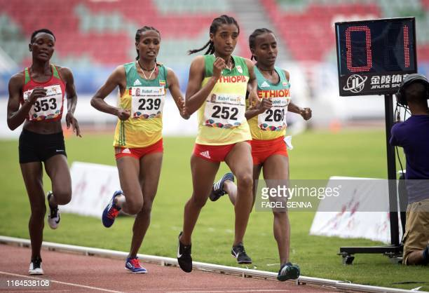 Ethiopia's Mekides Abebe Demewoz during the Women's 3000m Steeplechase Final at the 12th edition of the African Games on August 28 2019 in Rabat