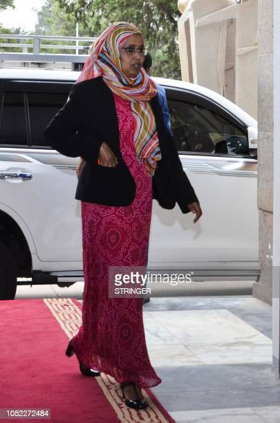 Ethiopias newly appointed Minister of National Defence Aisha Mohammed arrives to take her oath of office on October 16 at the parliament in the...