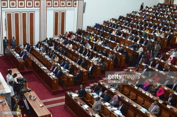 Ethiopia's parliament members attend the oathtaking ceremony of newly appointed ministers on October 16 at the parliament in the capital Addis Ababa...