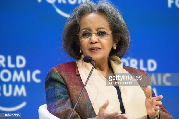 Ethiopia's President Sahle-Work Zewde speaks during the World Economic Forum Africa meeting at the Cape Town International Convention Centre, on...