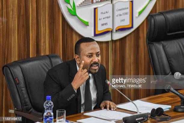 Ethiopia's Prime Minister Abiy Ahmed addresses national and regional issues after the recent regional coup attempt at the parliament in Addis Ababa,...