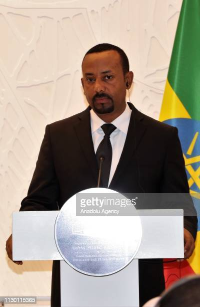 Ethiopia's Prime Minister Abiy Ahmed and French President Emmanuel Macron hold a joint press conference following their meeting in Addis Ababa...