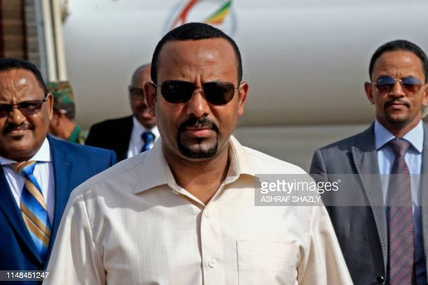 Ethiopia's Prime Minister Abiy Ahmed arrives at Khartoum international airport on June 7, 2019. - Ethiopia's prime minister arrived in Khartoum on...