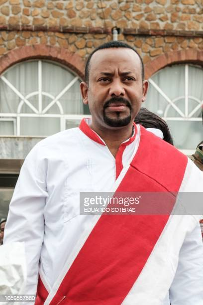 Ethiopia's Prime Minister Abiy Ahmed arrives to welcome Eritrea's president at the airport in Gondar nothern Ethiopia on November 9 2018 The...